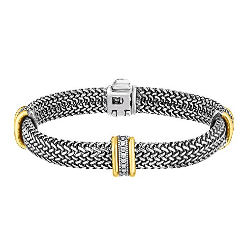 Sterling Silber Oxidiert 18ct Gelb Gold 10mm Kuppel Woven Armband 0.4860CT Weiß Saphir–20Cent
