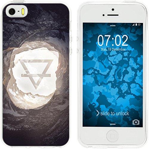 PhoneNatic Apple iPhone 5 / 5s / SE Custodia in Silicone estate M5 Case iPhone 5 / 5s / SE + pellicola protettiva Motif:02 Elemento Terra