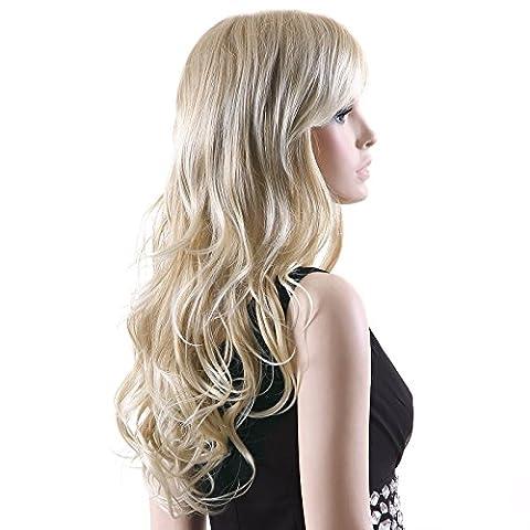 Songmics Neu Perücke Blond stilvoll schick gelockt Lang Haar Wigs für Karneval Cosplay Halloween (80er Kostüme Bilder)