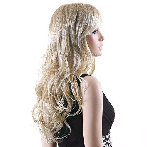 Songmics Neu Perücke Blond stilvoll schick gelockt Lang Haar Wigs für Karneval Cosplay Halloween WFF046 (Halloween Blonde Perücken)