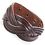 Pulsera identificatoria elegante trenzado de cuero genuino brazalete pulsera unisex, de tamaño variable (22.7 cm, marrón)