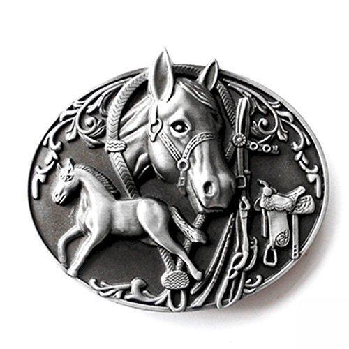 Western Buckle Pferd mit Fohlen, Rodeo - Gürtelschnalle