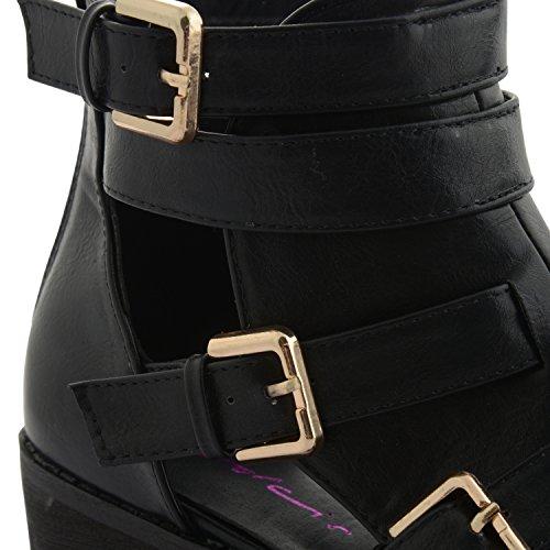 NEU Dolcis Damen Blockabsatz Schnalle Cut Out mit genagelter Sohle Stiefeletten UK Größe 3–8 Schwarz