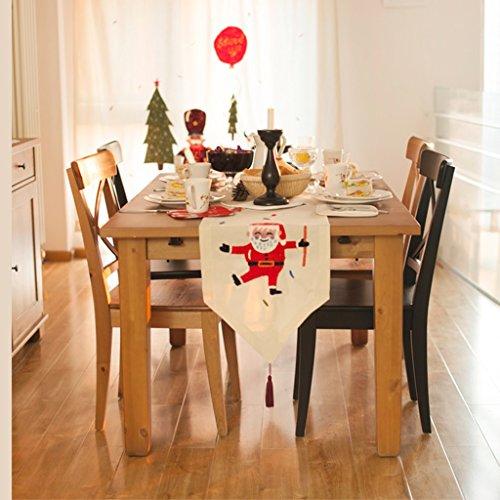 QiangZi Table Runner Main Broderie Santa Claus Table Basse Tissu Salon Cuisine De Mariage Partie \