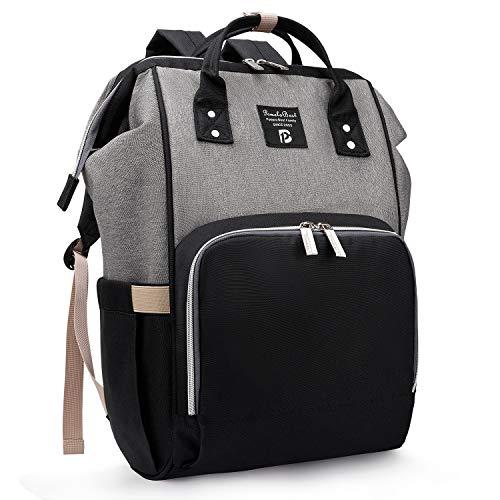 Baby Wickelrucksack Wickeltasche mit Wickelunterlage Multifunktional Oxford Große Kapazität Babyrucksack Kein Formaldehyd Reiserucksack für Unterwegs (Schwarz mit Grau) -