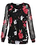 BAISHENGGT Women's Scoop Neck Long Sleeve Pleated Front Mesh Tunic Tops T-shirt Blouse Black Floral X-Large