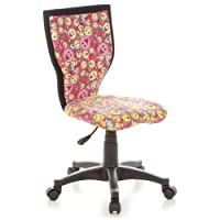 hjh OFFICE, 670065, Childrens Desk Chair, swivel chair, computer chair kids room, KIDDY LUX, Motif, mesh fabric, for children, ergonomic back, height adjustable, office task study chair,  home stool, armless, with soft-bottom rollers
