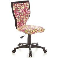 hjh OFFICE 670065 Kinder-Schreibtischstuhl KIDDY LUX Stoff-Bezug Pink/Gelb Smileys Drehstuhl Ergonomisch preisvergleich bei kinderzimmerdekopreise.eu