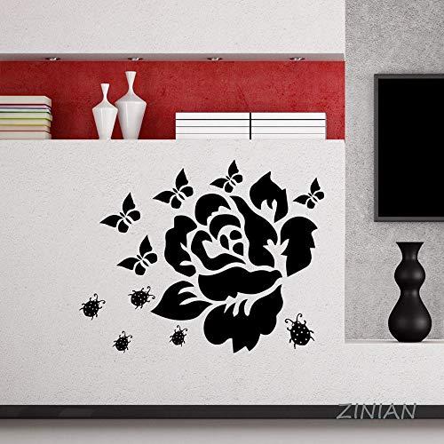 XCSJX Blume Aufkleber Schlafzimmer Schmetterling Beatle Wandaufkleber Steuern Dekorieren Wohnzimmer Selbstklebende Tapete Decor Moderne Wandbild 70X56 cm