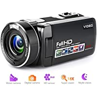 "Camcorder Video Camera Full HD 1080p Digital Camera 18X Digital Zoom Night Vision Pause Function with 3.0"" LCD and 270 Degree Rotation Screen with Remote Controller"