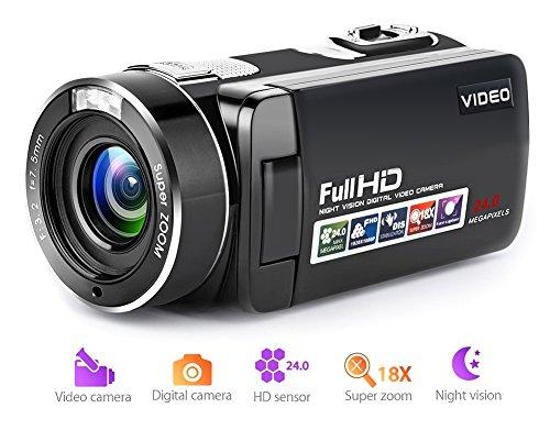 Videocamera Digital Camera Full HD Zoom digitale 18X Videocamera video per visione notturna con schermo LCD e rotazione di 270 gradi con telecomando