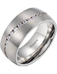 Mens Titanium Ring - Cubic Zirconia Wedding Engagement Eternity Brushed Titanium Ring