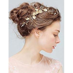 Deniferymakeup Brautkamm mit Blumen und goldfarbenen Kristallblatt, Brautschmuck im Vintage-Stil