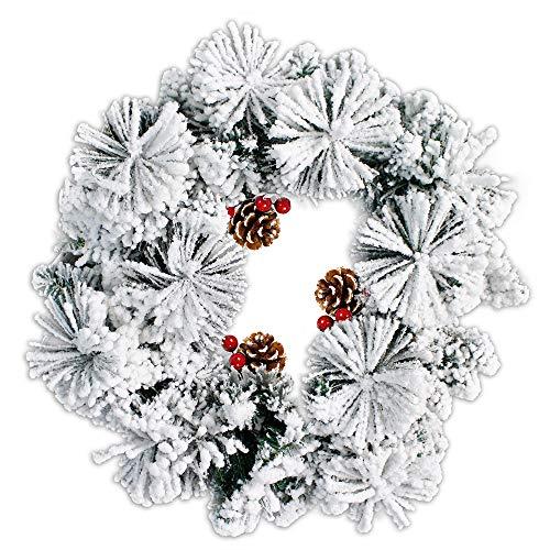 Vetrineinrete® dietroporta natalizio ghirlanda fiocchi di neve con 3 pigne e bacche rosse 48 cm 60 rami folti base verde e neve bianca decorazioni natalizie per la porta addobbi per la casa