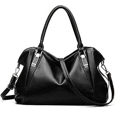 Women Handbags, Ufishy PU Leather Multiple Pockets Long Strap Cross Body Large Capacity Shoulder Bag, black