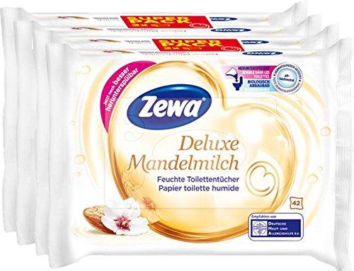 Zewa Deluxe Mandelmilch Lot de 2 packs de 84 lingettes de toilette humides au lait d'amande