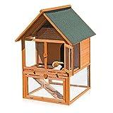 Melko® XXL Hasenstall Kleintierhaus mit Freilaufgehege, ca. 121 x 80 x 96 cm, aus Holz, Inkl. 1 Rampe + 1 Schublade