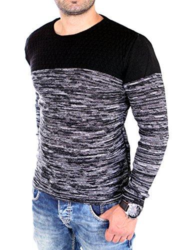 Reslad Strickpullover Herren-Pullover Melange Colorblock Rundhals Strick-Pulli RS-3124 Schwarz
