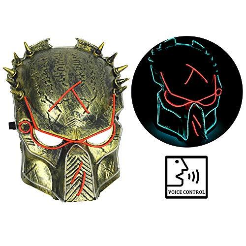 Predator Maske LED Halloween Masken Festival Parteien Kostüm - Sound Control - Full On/Blinkt/Slow Blink Modus