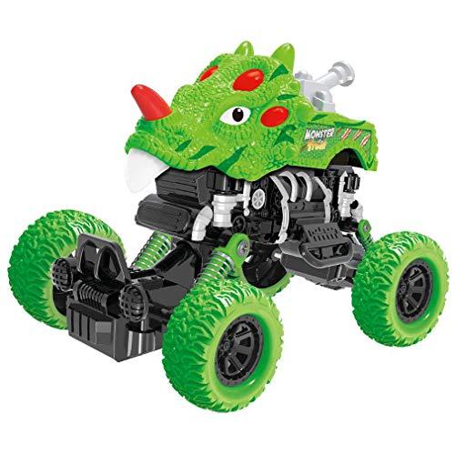 onster Truck Spielzeug, Allrad Pullback LKW Spielzeug Dinosaurier Auto Rennwagen mit stoßfesten Push und Go Geländewagen(Grün Triceratops) ()