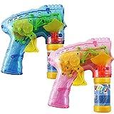 com-four® Set di 2 Pistole a Bolle di Sapone a LED, Bubble Gun ad Esempio Come Regalo per Il Compleanno di Un Bambino (02 Pezzi - Mix3)