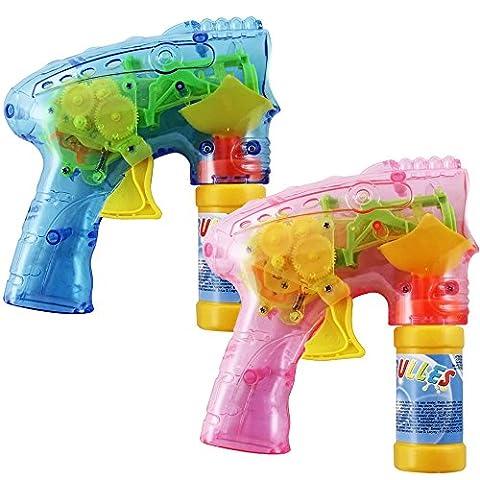 COM-FOUR® 2-teiliges Set LED-Seifenblasen-Pistole, Bubble-Gun z.B. als Mitgebsel bei einem (Riesen Licht-sets)