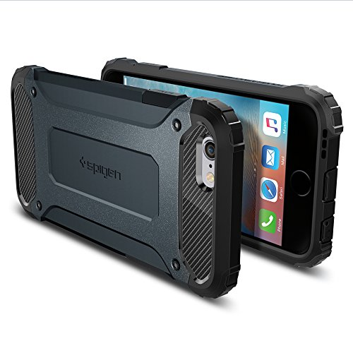 Cover iPhone 6, Spigen Cover iPhone 6S [Tough Armor Tech] Ultimate Shock-Absorb [Metal Slate] Dual Layer Ultimate Rugged Protezione, Custodia Apple iPhone 6 / iPhone 6S (SGP11743) Ardesia