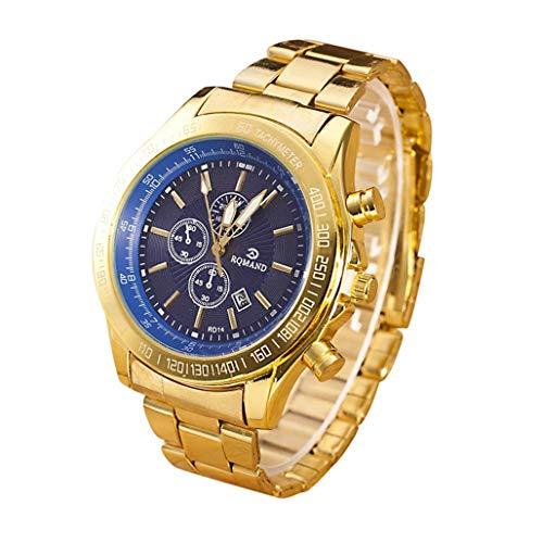 Herren Edelstahl Uhren,Kimdera Männer Luxus Elegant Design Wasserdicht Kalender Goldene Uhr Unisex Business Mode Kleid Analog Quarz analog Armbanduhr (Gold-blau)