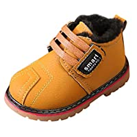 Byste Boy Leather Boots Toddler Kid Winter Warm Soft Plush Waterproof Non-Slip Snow Boots Martin Shoes