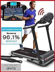Sportstech F10 Laufband mit Smartphone App Steuerung, Pulsgurt im Wert von 39,90 € inklusive, Bluetooth, 1PS, 10 KM/H, für Geh- und Lauftraining mit 13 Programmen – kompakt klappbar verstaubar