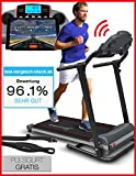 Sportstech F10 Laufband mit Smartphone App Steuerung, Pulsgurt im Wert von 39,90  inklusive, Bluetooth, 1PS, 10 KM/H, für Geh- und Lauftraining mit 13 Programmen - kompakt klappbar verstaubar