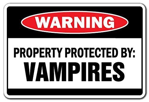 henk Eigentum geschützt durch Vampire Warnschild Suck Blood Fangs Scary Halloween-Schild Outdoor Metall Aluminium Schild, Dekoration ()