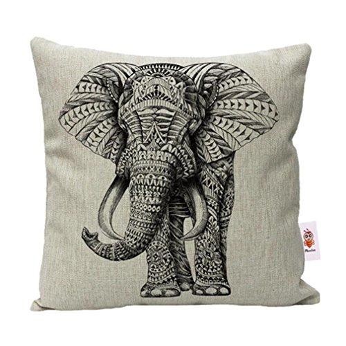 Nunubee cotone e lino shabby chic animale copricuscini e federe cuscini decorativi per divano letto, 45x45 elefante beige