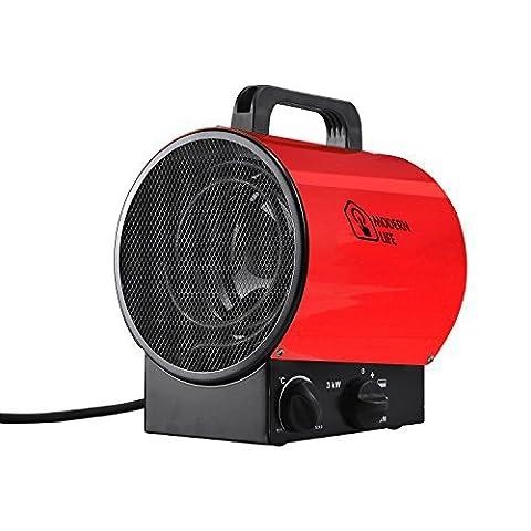 Modern life Heizlüfter Elektroheizgebläse Heißluftgenerator Industrial Fan Heater (max. 3 kW, stufenloses Thermostat, Standgerät, Tragegriff ) (Schuhkarton-geschenke Für Weihnachten)