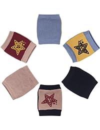 Camilife 3er Pack Baby Junge Mädchen Baumwolle Krabbeln Knieschoner Anti-Rutsch Gestrickt Knieschützer mit Gummipunkte für Baby 3-36 Monate