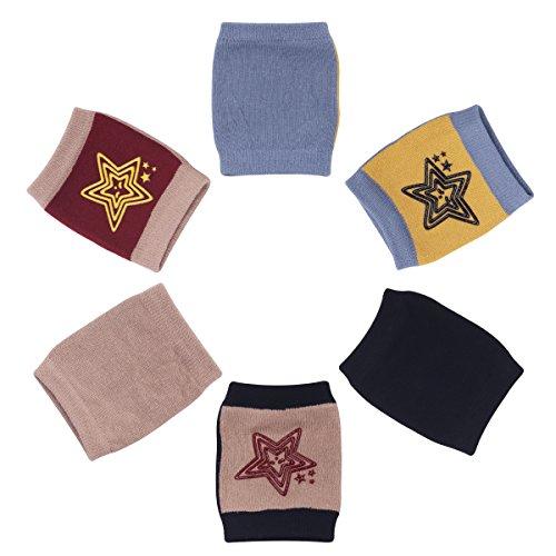 Camilife 3er Pack Baby Krabbeln Knieschoner Anti-Rutsch Baumwolle Gestrickt Junge Mädchen Knieschützer mit Gummipunkte, 3-36 Monate (Set B) Sternen Pattern