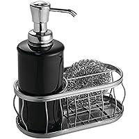 mDesign Dosificador de jabón recargable – Dispensador de jabón líquido con soporte para esponjas y estropajos – El accesorio de cocina ideal con 384 ml de capacidad – Negro/cromo