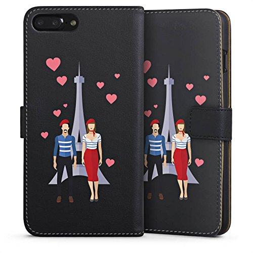 Apple iPhone 6 Silikon Hülle Case Schutzhülle Paris Eiffelturm Liebe Sideflip Tasche schwarz