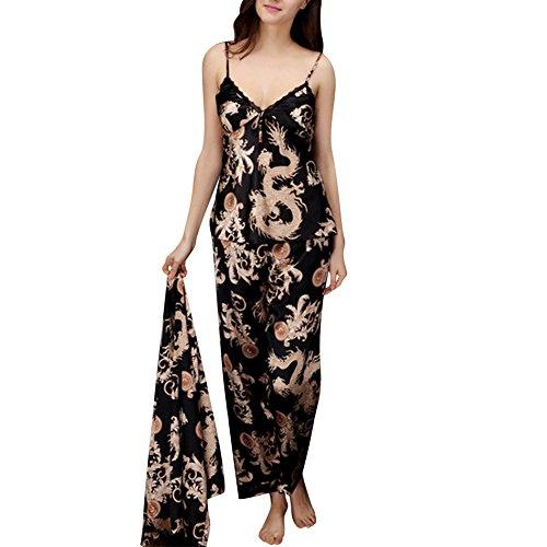 Coppia Pigiama Kimono Seta Inverno Manica Lunga Satin Accappatoio Cintura Nero (Donne)