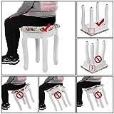 Songmics® Rose Hocker mit 2 Hockertafeln und 2 Methoden der Sitz für Schminktisch Echtholz Polster Sitzbank RDS50H - 6
