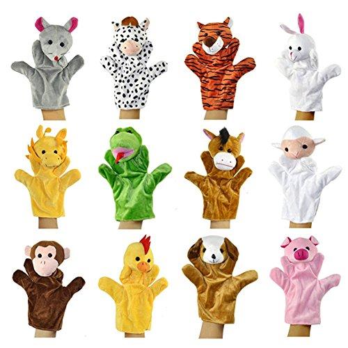 Très Chic Mailanda lustig Handpuppen Plüsch Spielzeug für Kinder 12 Karikaturtiere Puppentheater (12Stück/ Set)