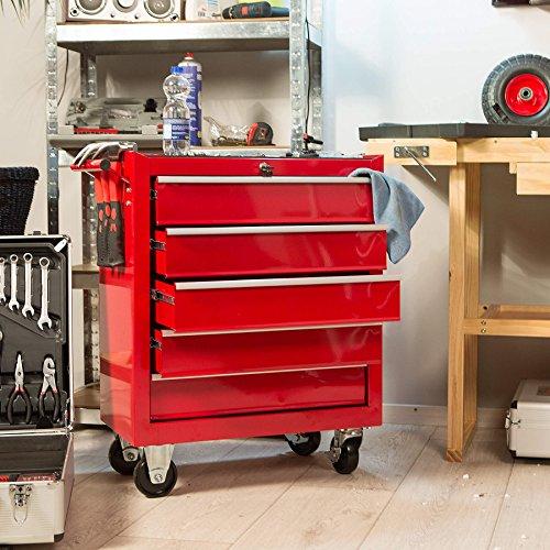 TecTake Werkzeugwagen Werkstattwagen   5 verschließbare Schubfächer   Kugelgelagerte Gleitschienen   auf Rollen - 4