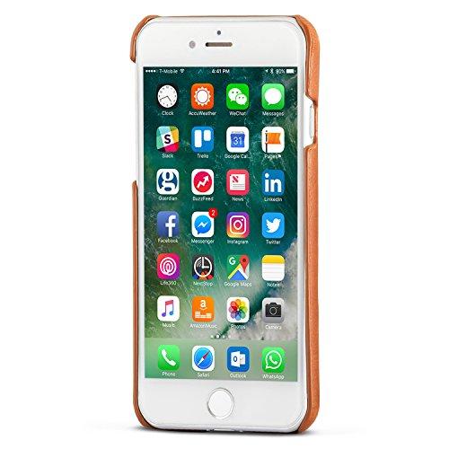 "iPhone 8 Lederhülle / iPhone 7 Lederhülle Leder Case Ledertasche Schwarz - KANVASA ""One"" Luxus Echtleder Backcover für das Original Apple iPhone 8 & 7 - Rindsleder Hülle Ultradünn - Optimaler Schutz Braun iPhone 8 & 7"