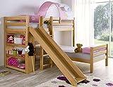 Froschkönig24 Etagenbett mit Rutsche Beni L Kinderbett Spielbett Bett Natur Stoff Prinzessin, Matratzen Oben/unten:ohne