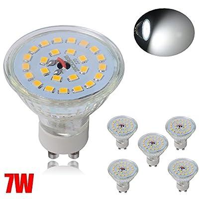 JAMBO GU10 LED Spotlight Bulbs 7W 25SMD 2835 220-240V Warm White (Pack of 6)