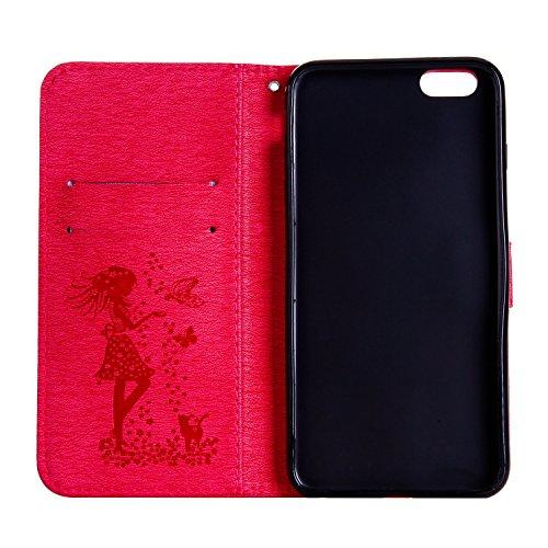 Für Apple IPhone 6 u. 6s plus Fall-Abdeckung, prägeartiges Mädchen-Muster Rhinestone PU-lederner Mappen-Kasten-Schlag-Standplatz-Fall mit Halter u. Lanyard u. Karte Bargeld-Schlitze ( Color : Blue ) Red