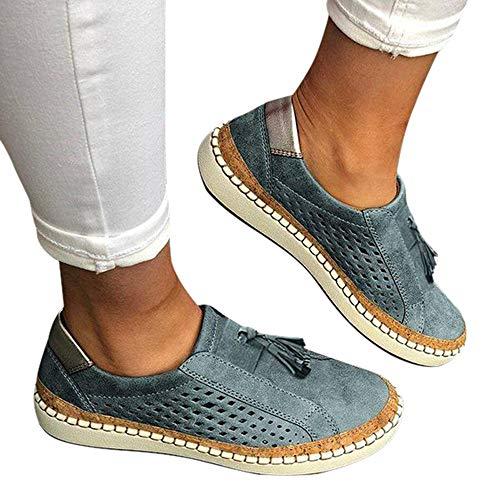 Vertvie Damen Slip On Sneaker Low-Top Hohl Leder Halbschuhe Ohne Schnürung Atmungsaktiv Multicolore Sommerschuhe(Blau 3, 38 EU)