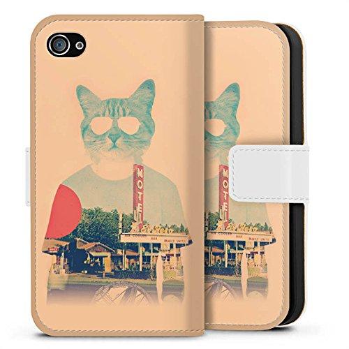 Apple iPhone X Silikon Hülle Case Schutzhülle Katze The Cat Ip Haustier Sideflip Tasche weiß