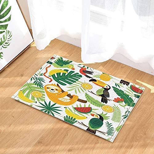 Palm Blätter Teppich (gohebe Tropische Tiere Decor Faultier mit Birds in Palm Blätter Bad Teppiche für Badezimmer Rutschfeste Boden Eingänge Outdoor Innen vorne Fußmatte Kinder Badteppich 39,9x59,9cm grün)
