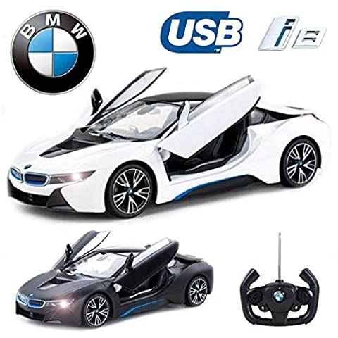 Comtechlogic® CM-2217 Official Licensed 1:14 BMW i8® Radio Control RC USB Electric Car with Remote Control Opening Doors - Ready to Run EP RTR (WHITE)